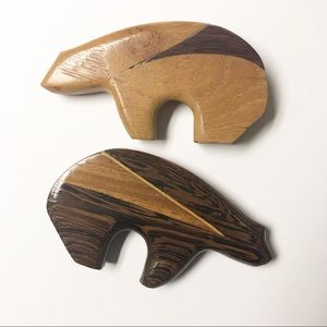 Carved Wooden Abstract Bears